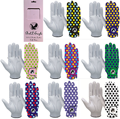 """""""SPOTTY"""" Golf Gloves FULL 100%  LEATHER Glove Mens or Ladies, RIght or Left Hand"""