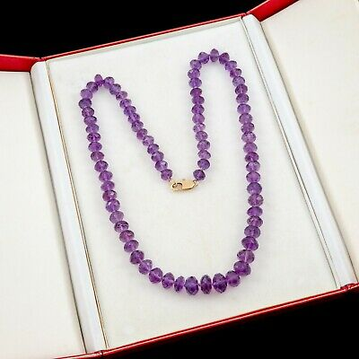 Antique Vintage Deco Retro 18k Gold Graduated Siberian Amethyst Beaded Necklace