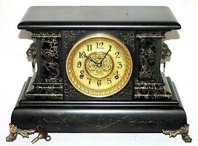 "Antique 1890'S Ingraham ""Regent"" Ebonized Mantel Clock W/ Lion Head Handles."