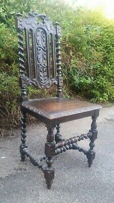 Beautiful Antique Victorian Barley Twist Carved Wooden Chair.
