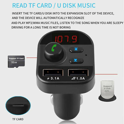 Car Battery Monitor Dual USB Charger Bluetooth Wireless FM Transmitter Display