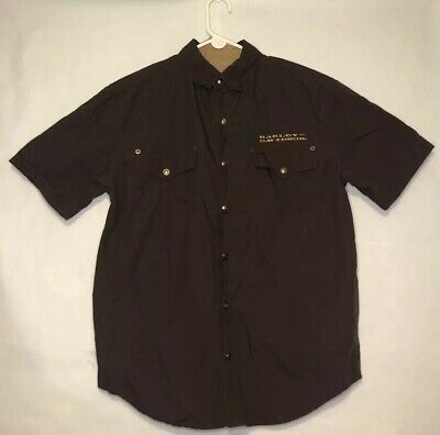 Harley Davidson Button Up Short Sleeve Double Front Pocket Brown Mens Medium