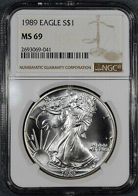 1989 1oz UNCIRCULATED AMERICAN SILVER EAGLE, CERTIFIED BY NGC MS69 ASE,  DX3