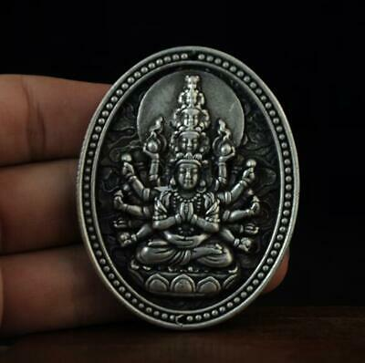Chinese old collection cooper-plating silver Avalokitesvara statue pendant a01