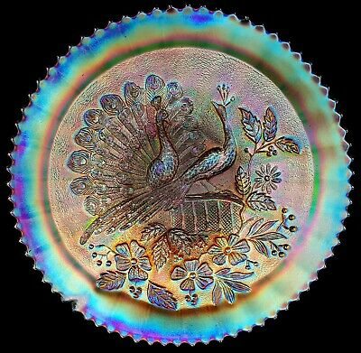 Antique Northwood Peacocks on the Fence Stippled Marigold Carnival Glass Plate