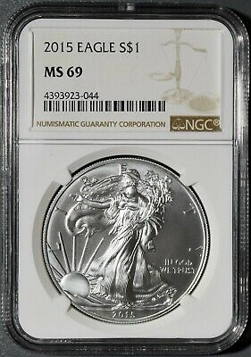 2015 1oz UNCIRCULATED AMERICAN SILVER EAGLE, CERTIFIED BY NGC MS69 ASE,  DX28