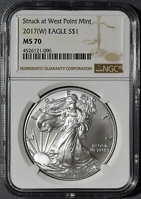 2017-(W) 1oz AMERICAN SILVER EAGLE, STRUCK AT WEST POINT MINT, NGC MS70,  DX31