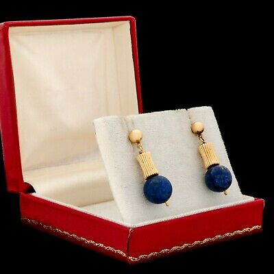 Antique Vintage Art Deco 18k Gold Etruscan Revival Lapis Lazuli Womens Earrings