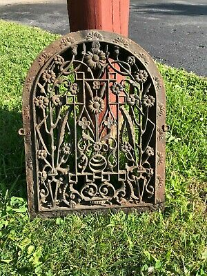 Antique Vintage Cast Iron Arch Heat Vent Grate Victorian House Church Register C