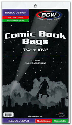 """BCW Comic Book Bags Resealable Regular/Silver Age Comic Books Thick (7"""" 1/4 x..."""