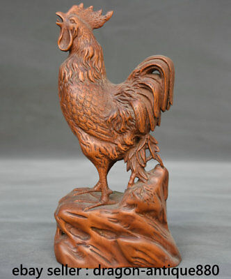 """6.8"""" Old Chinese Boxwood Hand-carved Rooster Cock Chicken Lucky Sculpture"""