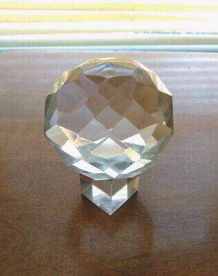 Faceted Lead Crystal Sphere on Lovely Crystal Glass Cube - Paper Weight - ***