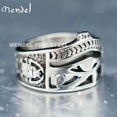 MENDEL Mens Egyptian Ankh Eye Of Horus Ra Band Ring Stainless Steel Size 7-14