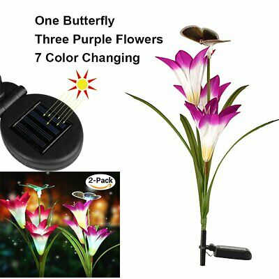 2 Packs Solar Power Lily+ Butterfly Flower LED Lights Outdoor Garden Stake Lamps