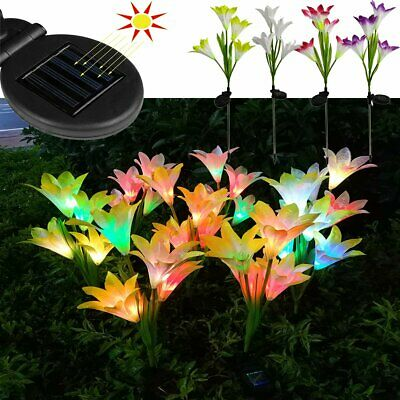 2Pcs Solar Power Lily Roses Flower Stake Lights Outdoor Garden Multi-Color Light