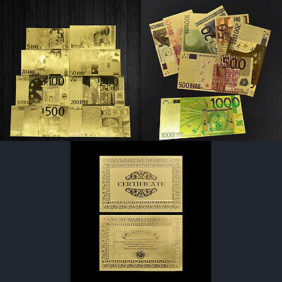 Lot de 16 Billets en Euros plaqué OR (5, 10, 20, 50, 100, 200, 500, 1000 €)