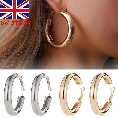 Women's Fashion Silver & Gold Plated Round Large Hoop Drop Earrings Jewellery #