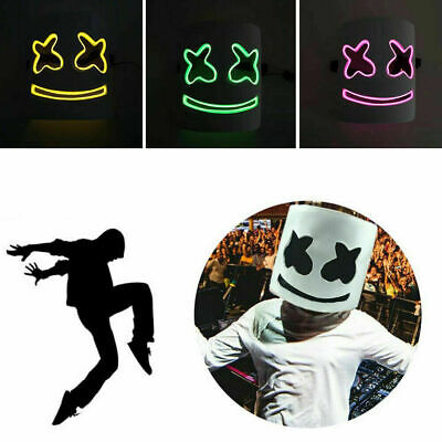 MarshMello DJ Mask Full Head Helmet LED Cosplay Mask Bar Music Tools Marshmallow
