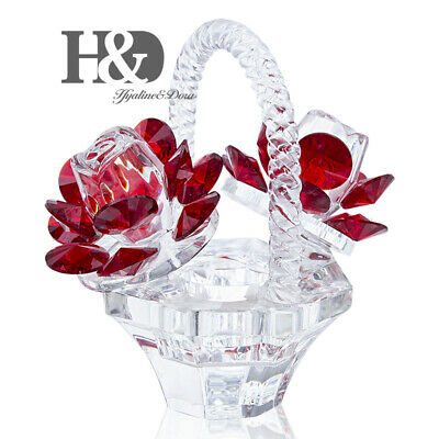 Crystal Roses Figurines Cut Glass Ornaments Paperweight Wedding Decor Lady Gift