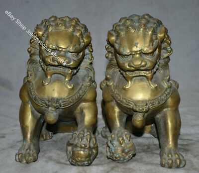 "8.8"" Old Chinese Bronze Fengshui Foo Fu Dog Guardion Lion Pair Luck Sculpture"