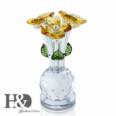 Fashion Crystal  Cut Glass Miniature Flower Figurine Ornaments Decor Mother Gift