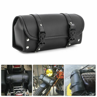 Universal PU Leather Black Motorcycle Side Saddle Bags Storage Fork Tool Pouch