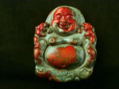 Great Chinese Old Jade Hand Carved *Monk/Gossip* Pendant A194