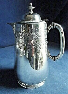 GOOD Engraved ~ SILVER Plated ~ BULBOUS Juice / Water JUG ~ c1890