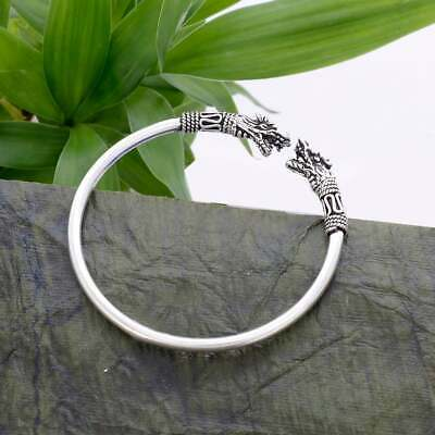 92.5 Solid Sterling Silver Two Head Angry Celtic Dragons Bangle 2.2 Inches KB-38