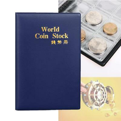120 Slots Coin Penny Collecting Holder Pockets Storage Folder Album Book Blue GL