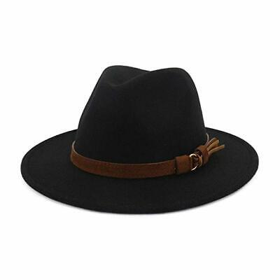 Men Women Vintage Wide Brim Hollow Fedora Hat Church Party Jazz Cap multicolour