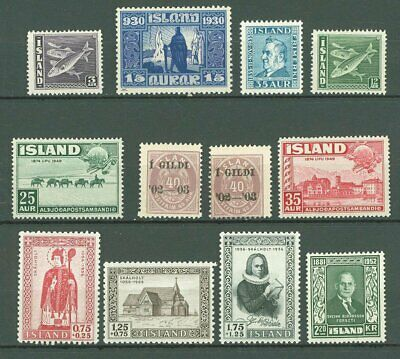 Iceland J56 Selection of 12v MNH 30-50s yrs Fishes UPU Animals Church