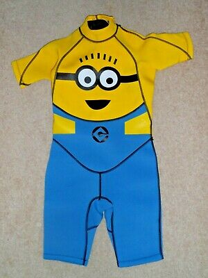 Minions Despicable Me Yellow Shortie Wetsuit Girls Boys 11-12 Years Old - Great!