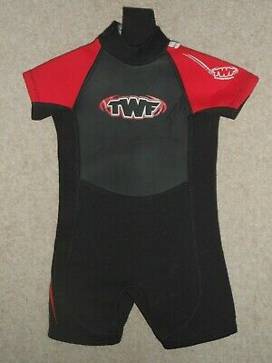 The Wetsuit Factory Twf Black & Red Boys Girls Kids Shortie 2-3 Years Old K03