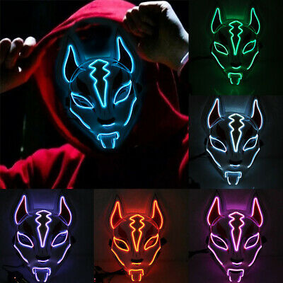 Halloween LED Lighting Mask Scary Glowing Fox Rave Purge Festival Cosplay