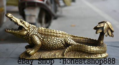 "20"" Chinese Brass Folk Animal alligator crocodile ashtray Statue Sculpture"