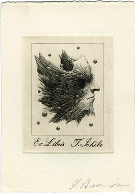 Ex Libris bookplate Soichi Bando signed etching