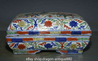 8.4 inch Jia jing Marked Old Chinese Wucai Porcelain Palace Double Dragon Box