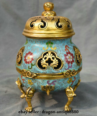 "9.2"" Marked Old Chinese Cloisonne Copper Dynasty Palace Incense Burner Censer"