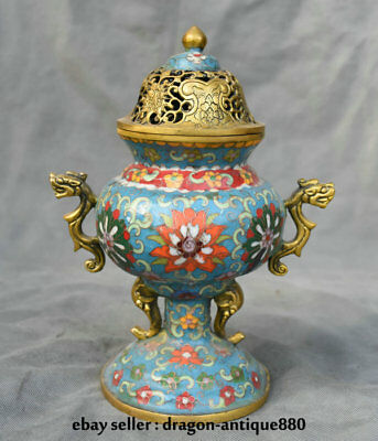 "10"" Marked Old China Cloisonne Copper Dynasty Beast Handle Incense Burner Censer"