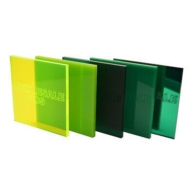 Green Colour, Tinted & Mirror Acrylic Perspex® Plastic Sheets 3mm & 5mm Thick
