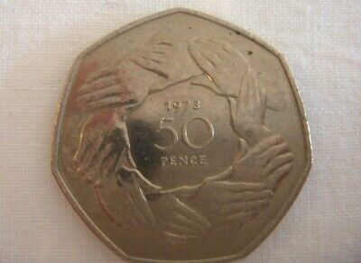 Large Old Style 1973 Hands 50p Fifty Pence Coin EEC EU BREXIT