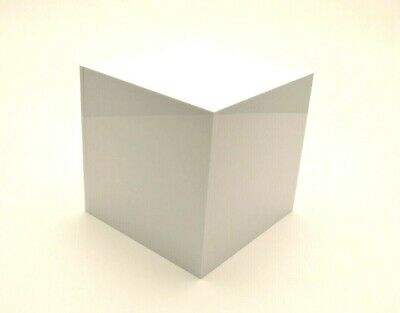 White Acrylic Perspex® Plastic Cube Display Stand 5 Sided Box Tray Retail Shop