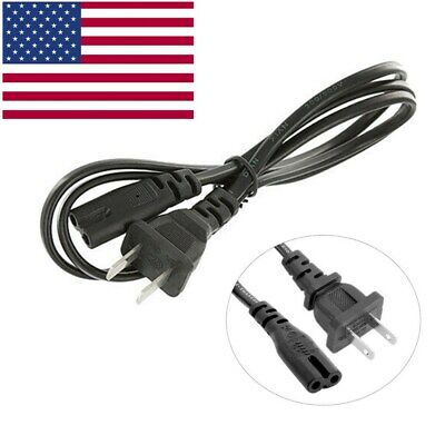 "US 2-Prong Port AC Power Cord 4.92"" Cable for PS2 PS3 Slim PS4 Laptops Printers"