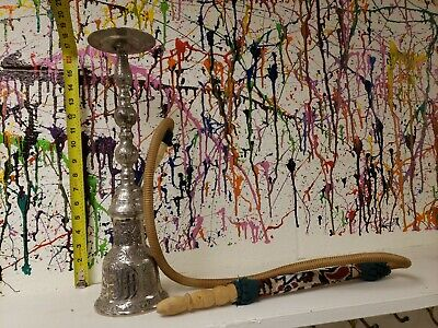 Vintage Hookah Pipe RARE Beautiful Engraved Brass Hooka 17 Inches - Wood Tip