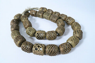 Strang Messingperlen Gelbguß 19 - 21mm AM39 Ghana Brass Beads Ashanti Afrozip