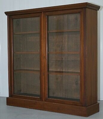 Lovely Dwarf Library Bookcase In Mahogany With Glazed Doors
