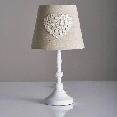 White Pearl Button Crafted Heart Table Lamp Shabby Chic French Country Bedside L