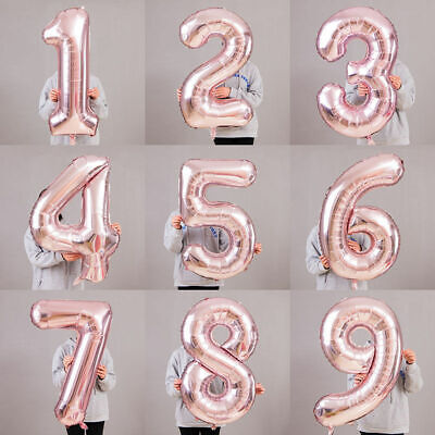 UK Huge 40'' Rose Gold Foil Number BALLON Self Inflating BALLOONS Birthday Party