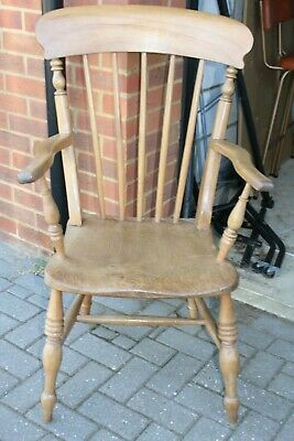 Antique Elm Seat Grandfather Armchair
